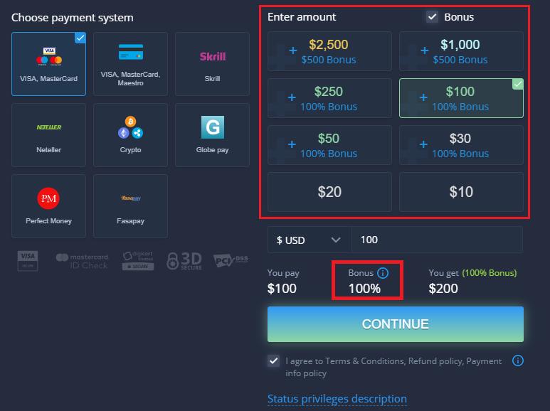 Promoção de boas-vindas ExpertOption - Bônus de depósito de 100% até $ 500